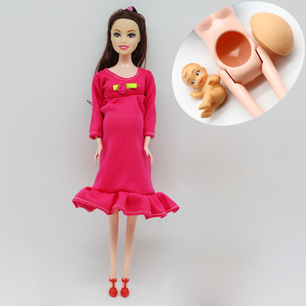 1pcs DIY Brown hair Real pregnant mom doll have a baby in her tummy for barbie dolls child toy gift er028