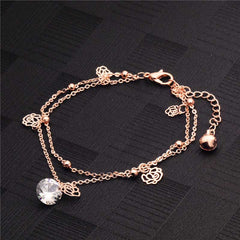 H:HYDE Bohemia Rose Ankle Bracelet Hollow Rose Flower Gold Chain Anklet Foot Chain Bracelets Foot Jewelry  Barefoot Beach