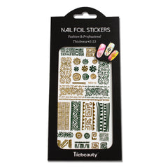 New 1 Sheets 3d Nail Art Sticker Beauty Eye/Necklace/Feather Glitter Green Gold Adhesive Tips Nail Accessory TRMD401-420G