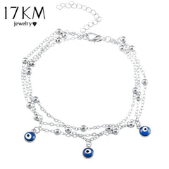 17KM 2 Style Turkish Eyes Beads Anklets For Women 2017 Sandals Pulseras Tobilleras Mujer Pendant Anklet Bracelet Foot Jewelry