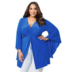 Blue L~L4 Women blouse Plus Size Design Sexy Long Sleeve V-Neck Fold Shirt Blouse Fashion Ladies Skirts #LSW