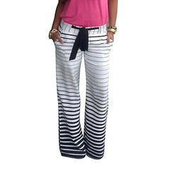 JECKSION Women Pants,White&Black Gradient Stripe Loose Wide Leg Long Pants Trousers Plus Size #LWN