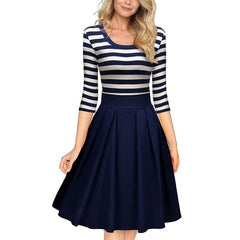 Miusol Women's Navy Style Stripe Scoop Neck Sleeve Casual Swing Knee length Dress