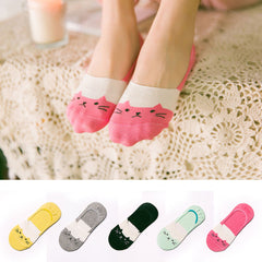 1Pairs Modern Soft Women Cotton Cartoon Cat Low Cut No Show Invisible Socks