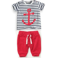 0-3Y Infant Baby Boys Sets Striped T-shirt Tops+Red Pants 2pcs Outfits Toddlers Suits Clothes