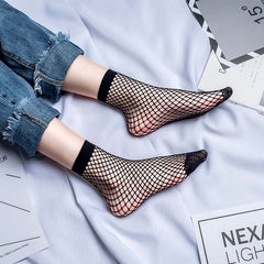2 Style good quality cheap Solid Black Breathable Fishnet Socks Women Girls Sexy hollow out short mesh ankle Socks elastic sock