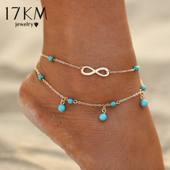 17KM New Double Infinite Beads Pendant Anklet Foot Chain For Woman Summer Bracelet Charm 2 Color Anklets Foot Jewelry Gift