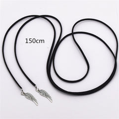 2016 Fashion Torques Pure Black Velvet Leather Feather Cross 150cm Long Necklace False Collar Chokers Necklace Women Jewelry