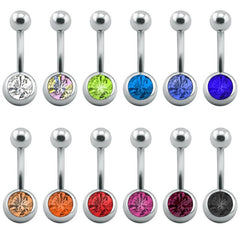 12 Pcs/Lot Belly Button Rings Crystal Surgical Steel Body Jewelry Belly Piercing Rings Sexy Real Navel Piercing Ombligo Pircing