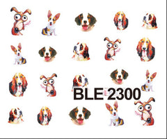 1X Nail Art Stickers NEW Cute Dog Water Transfer Wraps Children Stamping of Nail Decorations Decals Nail Accessory BLE2292-2302