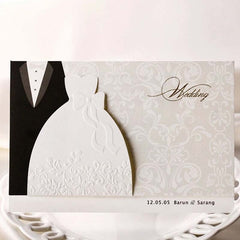 (10 pieces/lot) New Classic Bride And Groom Wedding Invitation Cards Black And White Western Style Wedding Invitations BH2046