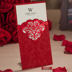 (10 pieces/lot) New Wedding Invitations Card Laser Cutting Sweet Chinese Red And Champagne Gold Wedding Card Invitations CW2002