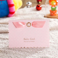 (10 pieces/lot) Lovely Pink And Sky Blue 3D Pop Up Birthday Invitation Card Baby Boy Baby Girl Invitations For Baptism CW5302