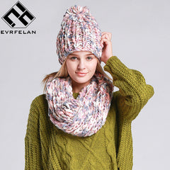 2017 Fashion Knit Winter Scarf Hat Winter Warm Hat For Women Girl Beanies Thick Female Bonnet Scarf Set Women Scarf Comfortable