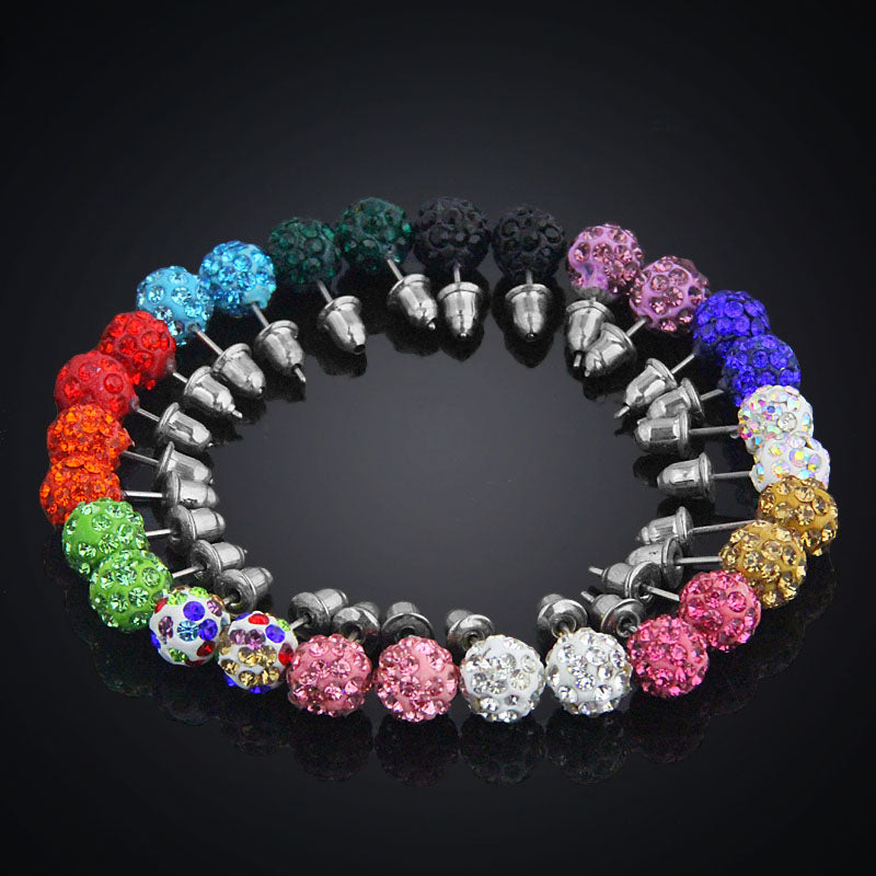 14 Pairs Set 8mm Shamballa Brand Earrings Micro Disco Ball Shamballa Crystal Stud Earrings For Women Fashion Jewelry