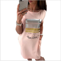 2017 New Summer Fashion Women Casual Cute Short Sleeve Letter Print Bronzing Dresses Loose Plus Size Long T Shirts Dress Vestido