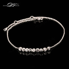 Double Fair Simple Style Metal Beads Anklets Chain Rose Gold Color/Silver Tone Fashion Jewellery/Jewelry For Women DFA020