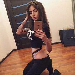 2017 Sexy Women 2 Piece Set Women Short Top Cut Out letter spring active set crop top conjunto feminino saia e blusa
