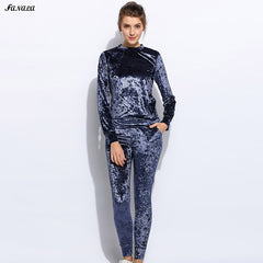 New Fashion Women Casual O-Neck Long Sleeve Lint Sportwear Set Tracksuits