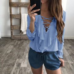 2017 Fashion Spring Autumn Women Chiffon Blouse Sexy Lace Up V Neck Ruffles Long Sleeve Black White Tops Casual Plus Size Shirt