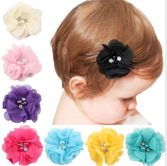 TWDVS Kids Girls Chiffon Flower Hair Clips Beautiful Kids hairgrip Flower Newborn Hair Accessories W233