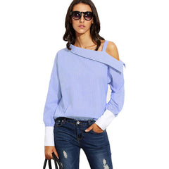 FANALA Women Blouse Blue Striped Contrast Cuff Asymmetric Off Shoulder Tops Long Sleeve Autumn Button Blouse Shirt 2017 Blusas