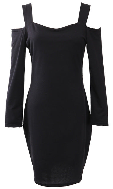 2016 Long Sleeve Sexy Party Black Knitted Dress Hollow Bodycon Dress Vestidos Short Sweater Dresses Winter Autumn Dress Women