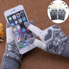 1 pair Women Warm Wool Stretch Snowflake Gloves Girl Winter Mittens Accessories