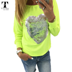 2017 Fashion Autumn t shirt women heart sequin top round neck heart shape blusa long sleeve woman shirts tops ladies tshirts tee