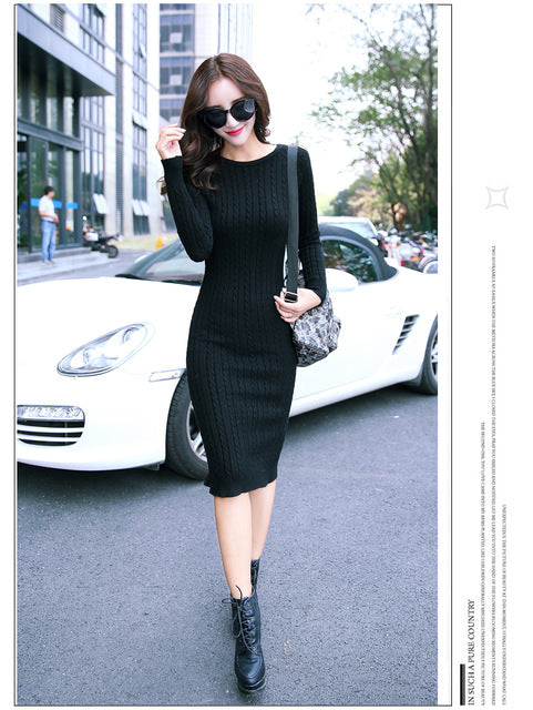 2017 Autumn Winter Sweaters Knitted Dress Women Sexy Casual Office Long Maxi Sweater Dress Pull Vestidos Party Bodycon Dresses