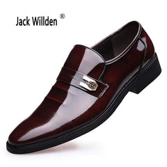 Jack Willden Men's Leather Shoes Genuine Leather Wedding Pary Shoes Men Fashion Patent Leather Dress Shoes Work Shoes Sapatos