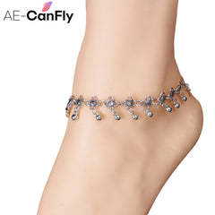 AE-CANFLY New Charm Anklets for Women Vintage Foot Jewelry Ancient Silver Color Flower Ankle Chain Bracelet 1PC 1K3013