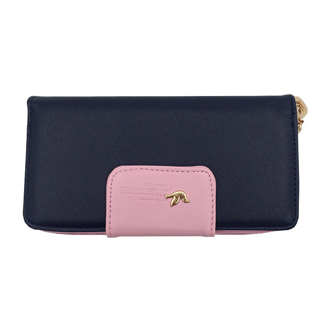 2017 Fashion Leather Women Wallets Long Zipper  Patchwork Coin Female Purse With Bird Hasp Card Holder Clutch Money Phone Bag