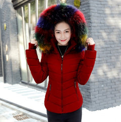 2017 Autumn Winter Jacket Women Parkas for Coat Fashion Female Down Jacket With a Hood Large Faux Fur Collar Coat