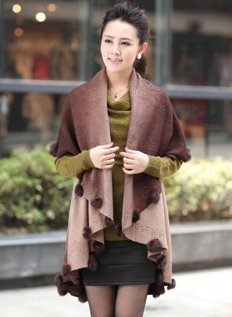2016 New Winter Women Oversized Knitted Cashmere Poncho Capes Rabbit Fur Shawl Tops Long Cardigan Feminino Knitwear Sweater MY02