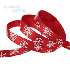 "(10 yards/lot) 3/8"" (10mm) Red printed Snowflake Satin Ribbon christmas gift ribbons"