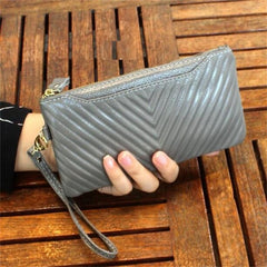 100% Genuine Leather High Capacity Fashion Women Wallets Long Dull Polish Wallet Female Zipper Clutch Coin Purse Ladies Wristlet