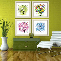 & 33x33cm Four Seasons flower Tree DIY 5D  Diamond Embroidery Mosaic crystal needlework diamond Painting Cross Stitch Kits