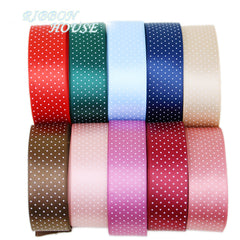 (5 yards/lot) Small Dots Printed Satin ribbon lovely series ribbons wholesale (25mm&40mm)