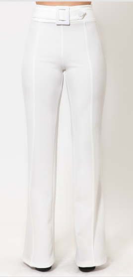 Holly Highwaist White Belted Pants