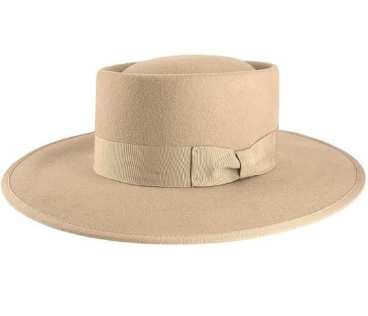 Formation Boat Black Wide Beige Fedora Hat
