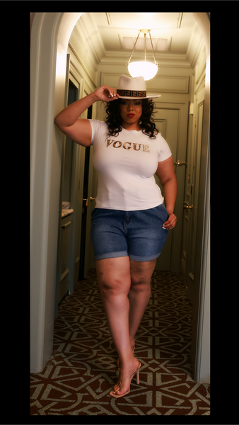 VOGUE Rose Gold Embellished Tee