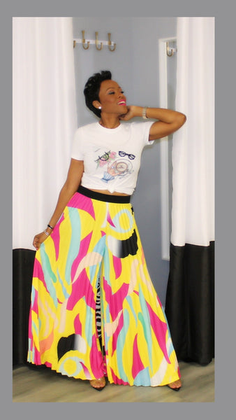 Picasso Pleated Yellow and Pink Pants