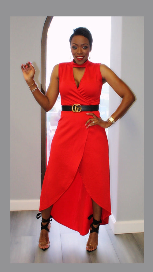 Vicky V-Neck Red Dress:FINAL SALE