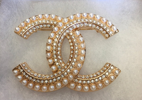 Emma Diamond and Pearl Double CC Brooch