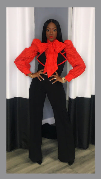 Jynx Red Accent Jumpsuit:FINAL SALE