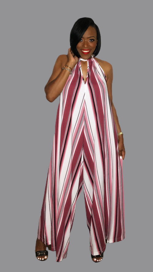 Heather Halter Striped Jumpsuit