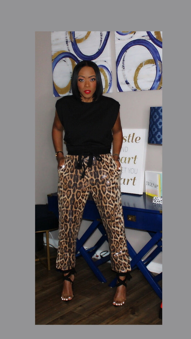 Leighton Leopard Sequin Jogger Pants