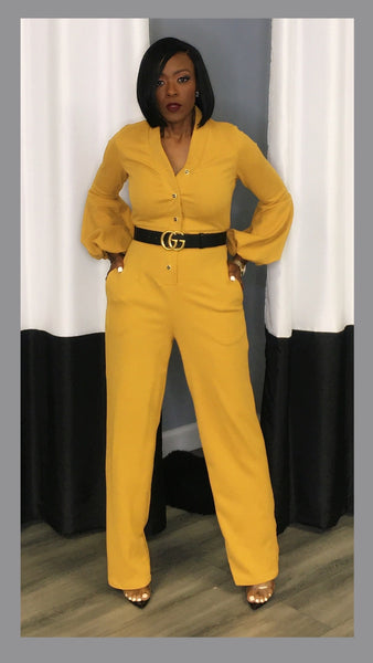 Chasity Gold Button Puff Sleeve Mustard Jumpsuit