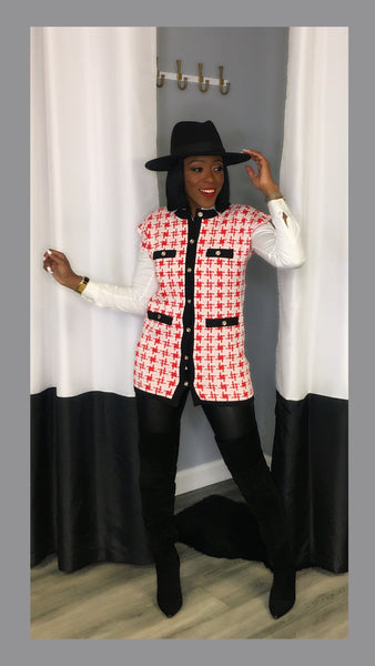 Raven Red Houndstooth Tunic Vest Top:FINAL SALE
